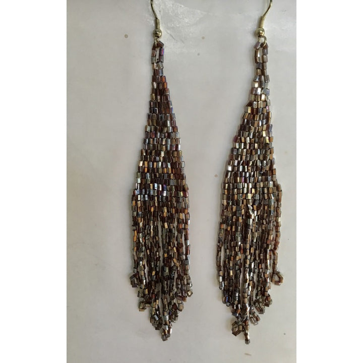 SALE Long Beaded Dangle Earring