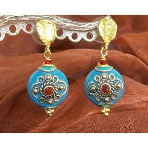 Tibetan Turquoise and Coral Earrings