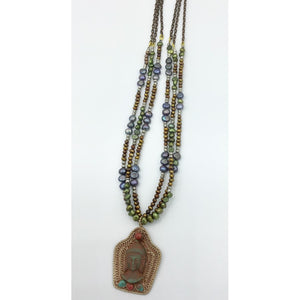 Natural Pearls with Buddah Necklace