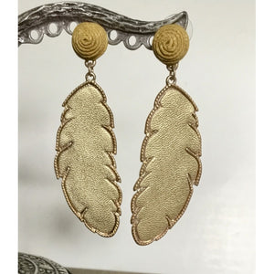 Gold Leather Drop Earrings