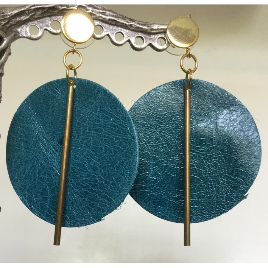 Teal Disk Leather and Metal Drop Earrings