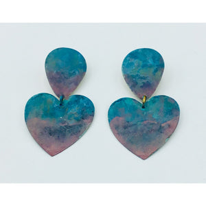 Large Copper Painted Hearts Earrings