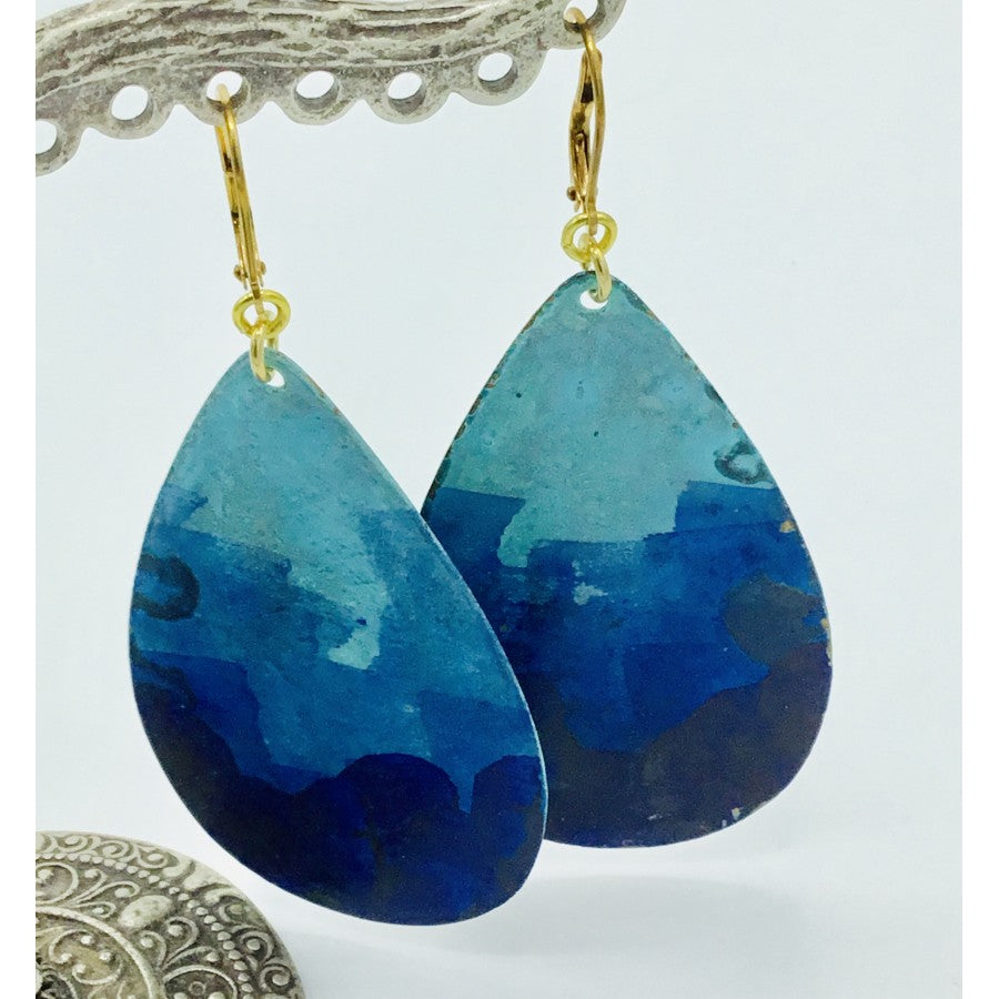 Hand Painted Large Teardrop Earrings