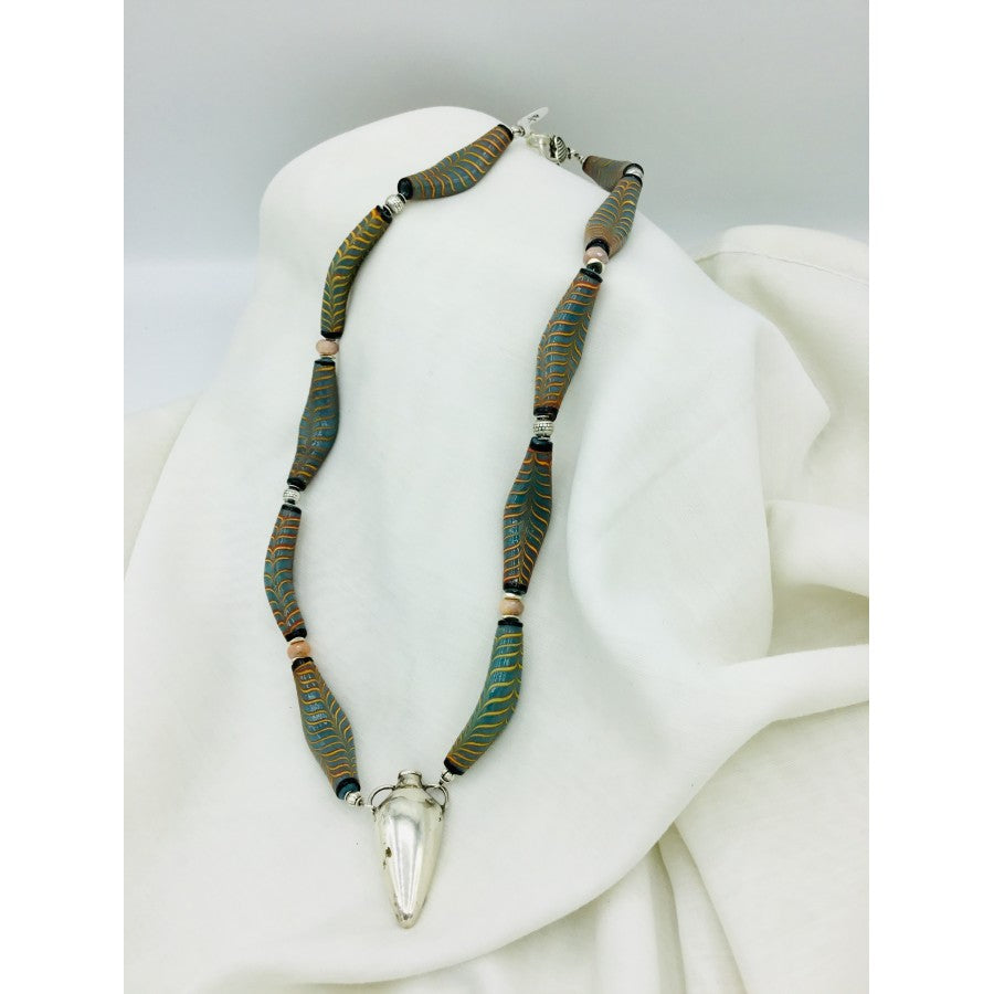 Snake Like African Bead Necklace