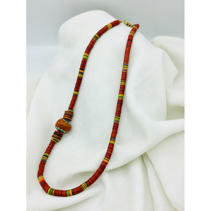 Multicolored Vinyl African Bead Necklace