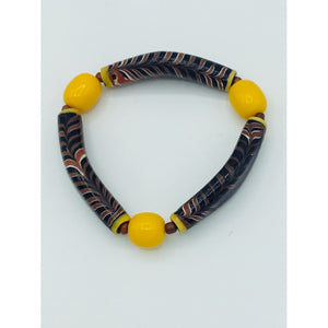 Yellow Beads with French Cross Bead Bracelet