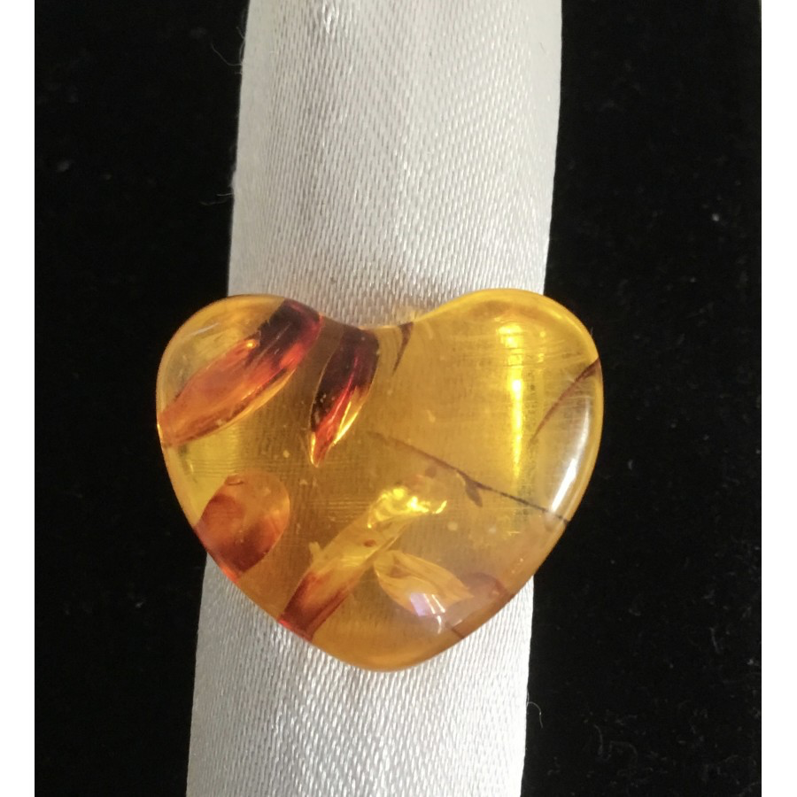 Amber Heart Ring