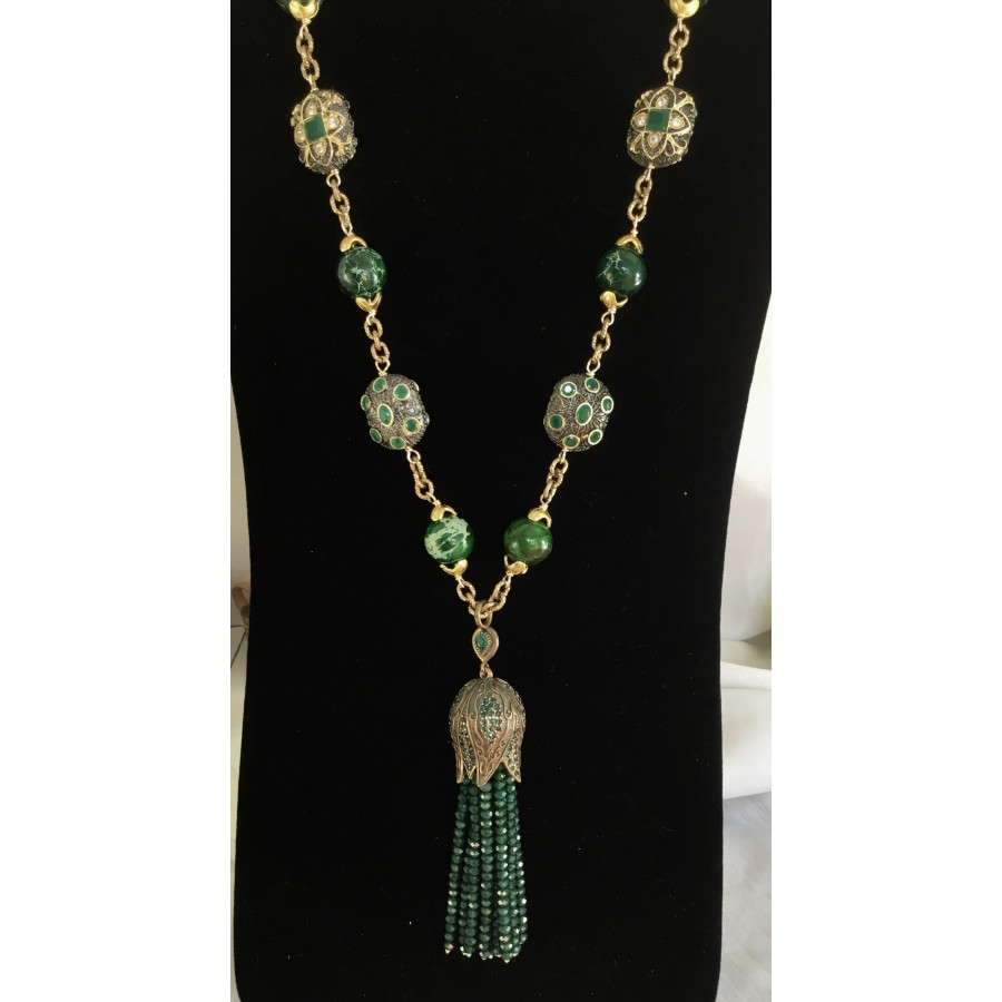 Green Onyx Tassel Necklace