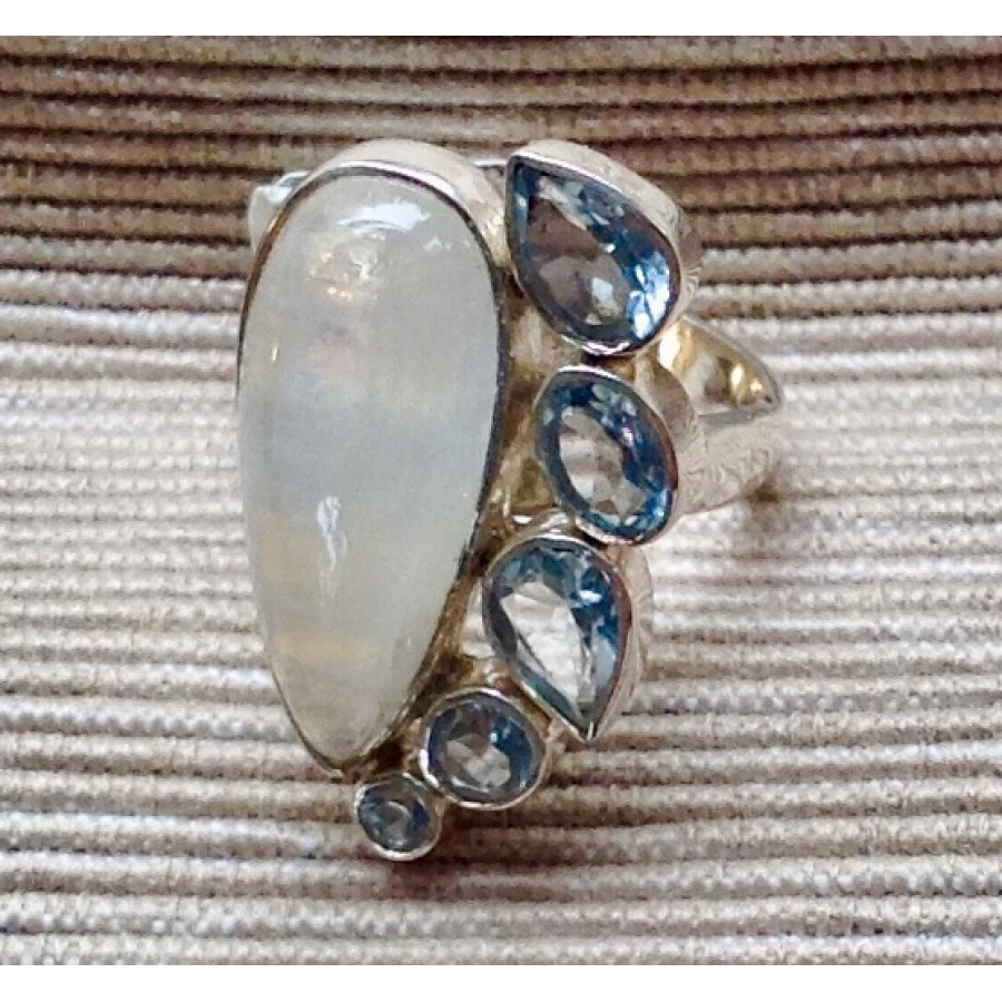 Moonstone and Aquamarine Ring