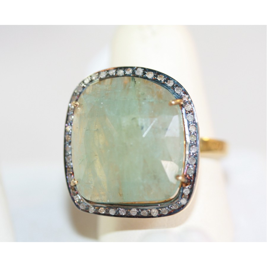 Moss Agate and Diamond Ring
