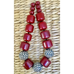 Cherry Amber with Large Silver Beads Necklace