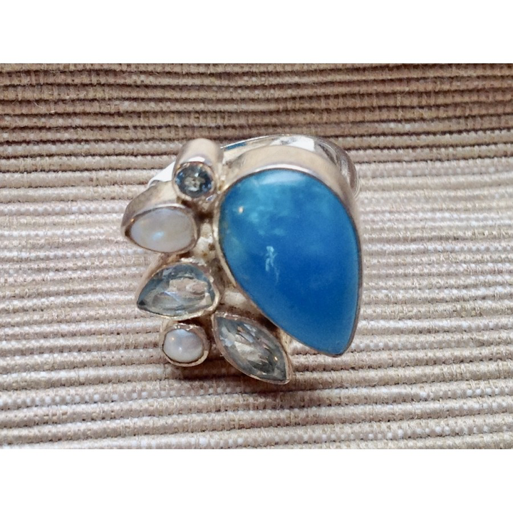 Chalcedony, Aquamarine, and Pearl Ring