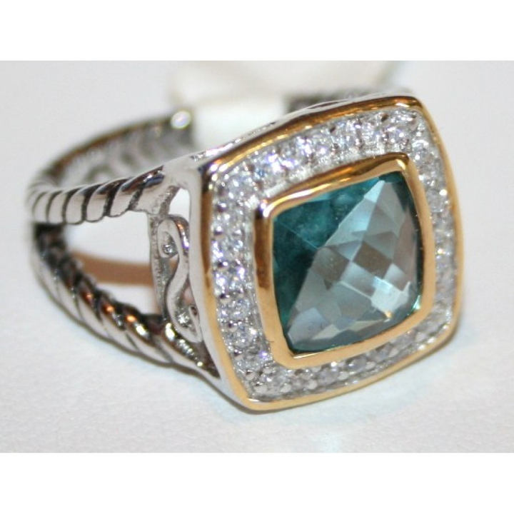 Blue Crystal and CZ Ring