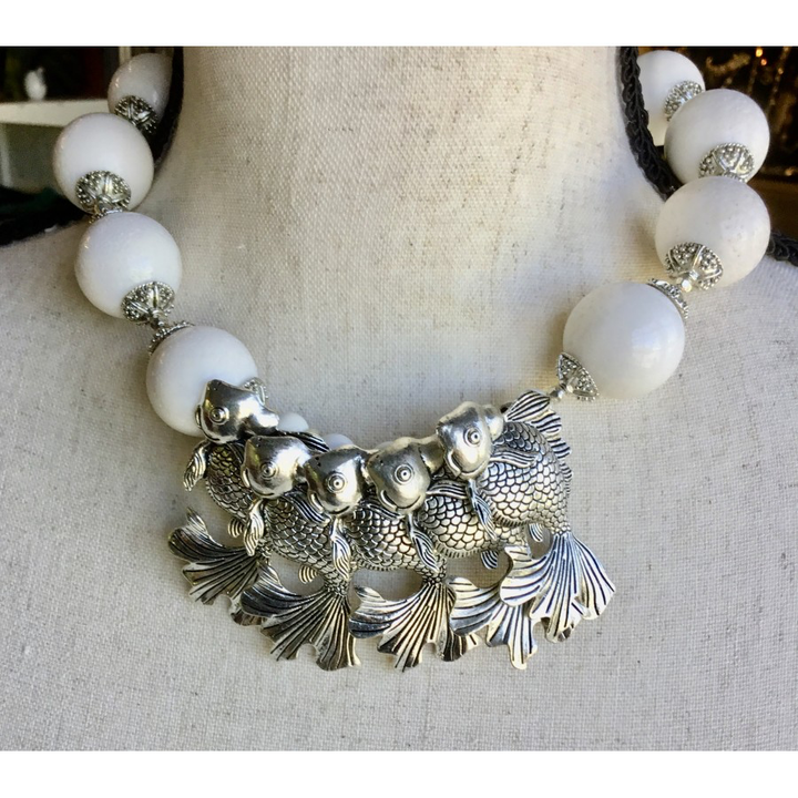 SALE-White Coral and Five Fish Necklace