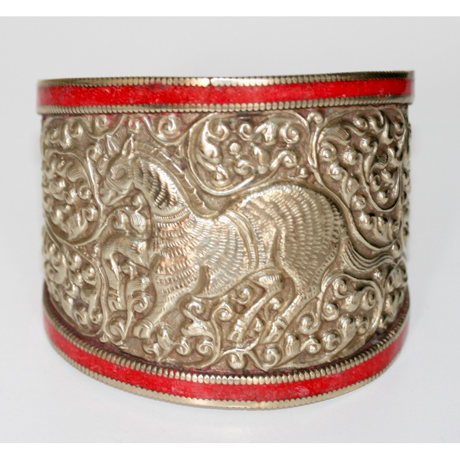 Thai Silver Cuff Bracelet with Coral Edging