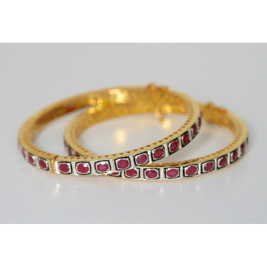 Ruby Hinged Bangle Bracelet