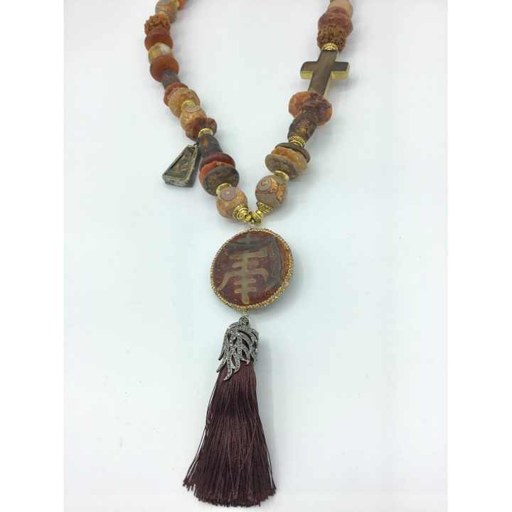 Brown Agate with Happiness Pendant Tassel