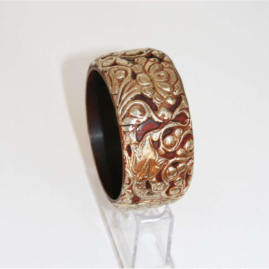 Chocolate Brown Resin & Silver Bangle