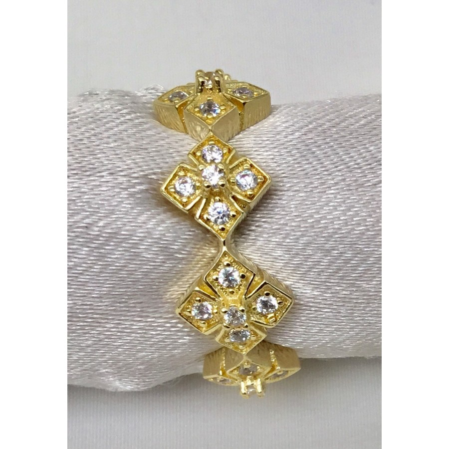 Row of Sparkling Squares Ring