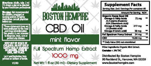 Mint Flavored CBD Oil - 1000mg CBD