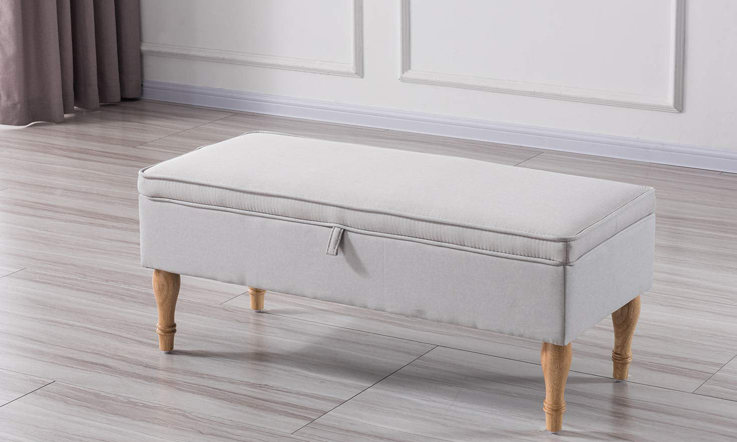 Marvelous Rectangular Tufted Fabric Storage Bench Caraccident5 Cool Chair Designs And Ideas Caraccident5Info