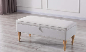 Rectangular Tufted Fabric Storage  Bench