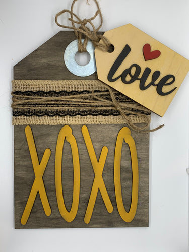 DIY Wooden Sign Kit - XOXO Burlap and Black