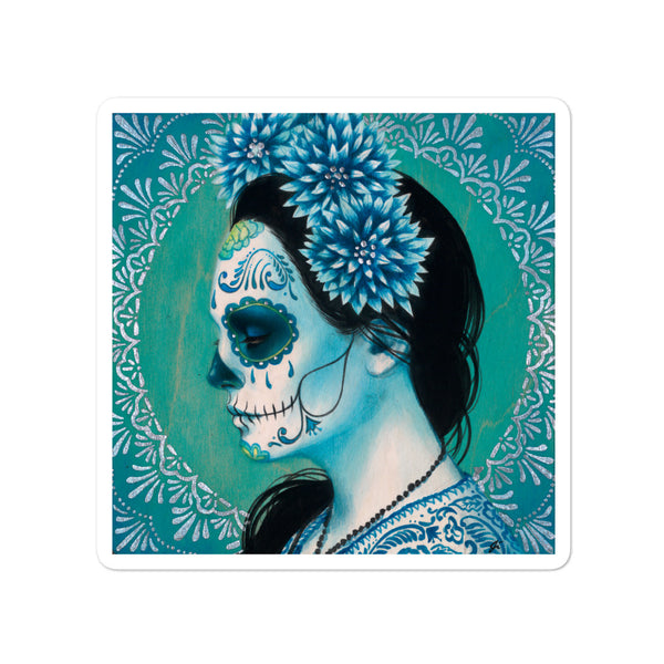 "Blue Dahlia Sticker 4"" x 4"""