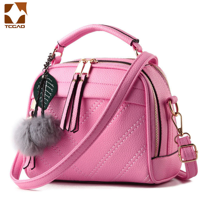 d02506e36262 Fashion PU Leather Handbag for Women 2018 New Girl Messenger Bags with Ball  Toy Bolsa Female
