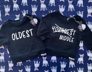 Oldest Middle Youngest (set of 3 with onesie)