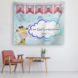 Uplifting Nursery & Kids Room Tapestry - I Am God's Masterpiece ~Ephesians 2:10~ (Design: Giraffe 2)