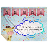 Hope Inspiring Kids Snuggly Blanket - Christ Strengthens Me ~Philippians 4:13~ (Design: Giraffe 2)