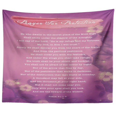 Bible Verses Tapestry Prayer for Protection ~Psalm 91:1-8~ (Design: Misty 1)