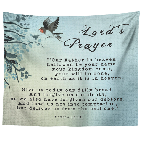 Bible Verses Tapestry Lord's Prayer ~Matthew 6:9-13~ (Design: Bird 2)