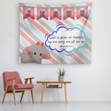 Uplifting Nursery & Kids Room Tapestry - God Is With Me Always ~Matthew 28:20~ (Design: Elephant)