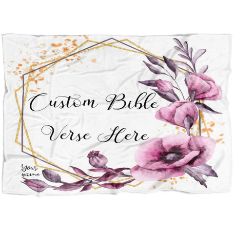 Customizable Artistic Minimalist Bible Verse Premium Mink Sherpa Blanket With Your Signature (Design: Square Garland 13)