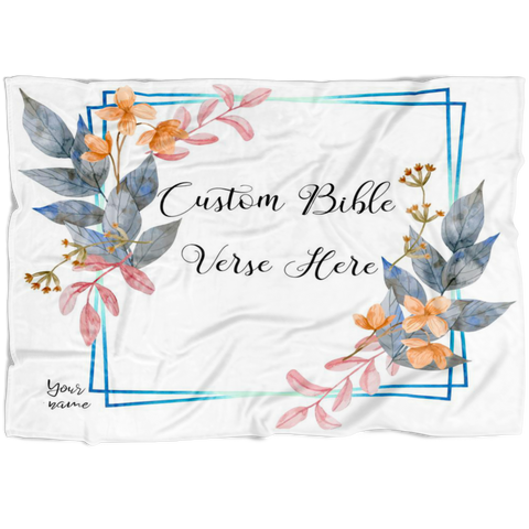 Customizable Artistic Minimalist Bible Verse Premium Mink Sherpa Blanket With Your Signature (Design: Square Garland 14)