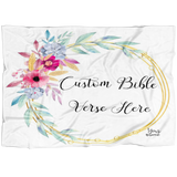 Customizable Artistic Minimalist Bible Verse Premium Mink Sherpa Blanket With Your Signature (Design: Square Garland 16)