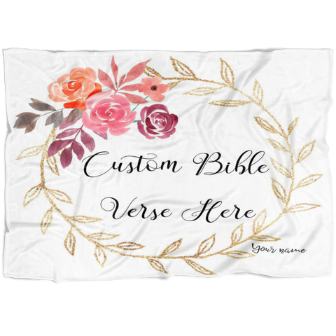 Customizable Artistic Minimalist Bible Verse Premium Mink Sherpa Blanket With Your Signature (Design: Square Garland 19)