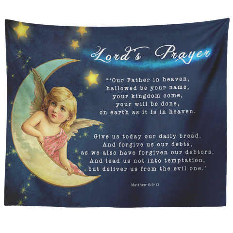 Bible Verses Tapestry Lord's Prayer ~Matthew 6:9-13~ (Design: Angel 3)