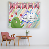 Uplifting Nursery & Kids Room Tapestry - I Am God's Masterpiece ~Ephesians 2:10~ (Design: Dinosaur)