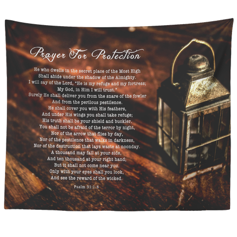 Bible Verses Tapestry Prayer for Protection ~Psalm 91:1-8~ (Design: Lamp 2)