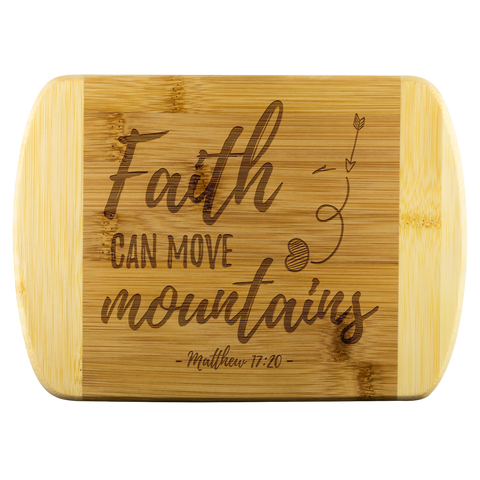 Bible Verses Wood Cutting Board - Matthew 17:20 (Design 5) - Meditate Healing Christian Store