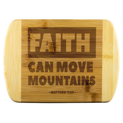 Bible Verses Wood Cutting Board - Matthew 17:20 (Design 2) - Meditate Healing Christian Store