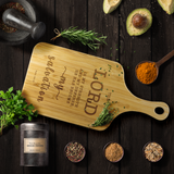 Typography Organic Bamboo Wood Cutting Board With Handle - He Has Become My Salvation ~Psalm 118:14~