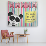 Uplifting Nursery & Kids Room Tapestry - Spirit Of God Lives In Me ~1 Corinthians 3:16~  (Design: Panda1)