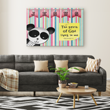 Hope Inspiring Nursery & Kids Bedroom Framed Canvas Wall Art - Spirit Of God Lives In Me ~1 Corinthians 3:16~ (Design: Panda 1)