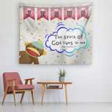 Uplifting Nursery & Kids Room Tapestry - Spirit Of God Lives In Me ~1 Corinthians 3:16~  (Design: Monkey)