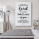 Minimalist Typography Framed Canvas - Cast Your Burden On The Lord ~Psalm 55:22~