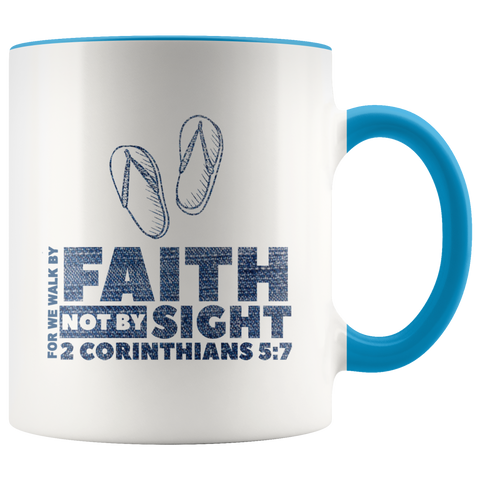 Bible Verses Accent Mugs - 2 Corinthians 5:7 (Design 2) - Meditate Healing Christian Store